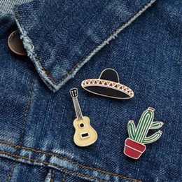 lips brooches Canada - OMG Lip Ice cream Exclamation point Drink Hat Cup Guitar Cactus Potted Plant Cartoon Brooch Denim Jacket Pin Badge Cute Fashion Jewelry