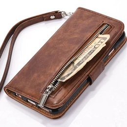 Wholesale Wrist Zipper Wallet Australia - For iphone 6 Leather Case Zipper Wallet Case Cover PU Leather Folio Flip Holster Carrying Case Slim Card Holder Wrist Strap