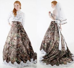 $enCountryForm.capitalKeyWord NZ - Two Pieces Camo Country Wedding Dresses with Long Sleeve Lace Bolero 2018 Vintage Strapless Realtree Bohemian Cowgirl Wedding Gowns Cheap