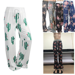 dark grey yoga pants Canada - Women floral Wide Leg Lady Drawsting casual YOGA trousers Christmas Reindeer Flag cacti printed plus size long loose Pants