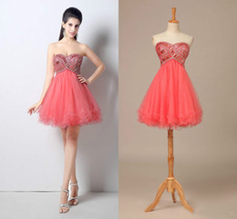 $enCountryForm.capitalKeyWord Canada - 2018 Short Tulle Prom Party Dresses Sweetheart A-Line Lace-Up Back MiNI Dress With Crystal Body Homecoming Dresses Formal Gowns