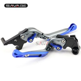 Folding Extendable Brake Clutch Levers UK - For YAMAHA YZF-R25 YZF-R3 MT-25 MT-03 2015-2016 Motorcycle Adjustable Folding Extendable Brake Clutch Levers Blue+Titanium