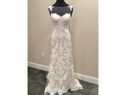 Models Photos Back NZ - Real Photos Embroidered Lace Appliques Sheath Illusion Back Sweetheart Buttons Sleeveless COR-446 Wedding Dresses Renda Vintage