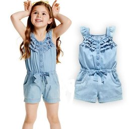 $enCountryForm.capitalKeyWord Canada - 2017 New Summer Baby Girls Cotton Short Jumpsuit Kids Ruffles Bowknot Sleeveless Overalls Rompers Children Jumpsuits Blue