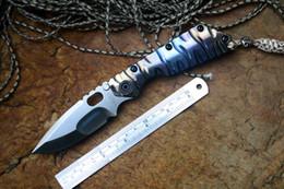 Strider couteau SMF couteau pliant satin D2 lame roulement à billes rondelle TC4 flamme texture coloré gérer couteau de survie en plein air en Solde