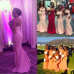 nigerian orange beads Canada - Cheap Long Mermaid Bridesmaid Dresses 12y sheer neck Plus Size Beaded Bridal Party Gowns Sale Purple Nigerian Arabic Maid of Honor Wear