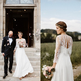 $enCountryForm.capitalKeyWord NZ - Romantic Country Beach Wedding Dresses Simple Elegant Sweetheart Floor Length Inexpensive Bridal Gowns with Removable Exquisite Lace Jacket