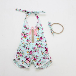 Barato Garoto Ruffled Criança Pequena-Varejo 2017 Summer Toddler Girls Romper Floral Print Baby Girl Ruffle Jumpsuits Com Headband Princess Infant Kids Overalls 7119