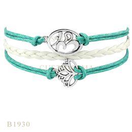 custom leather wrap bracelets 2019 - Custom-Infinity Love Yoga Lotus Metal Charm Wrap Bracelets Christmas Gifts Women Fashion Bracelets White Wax Suede Leath