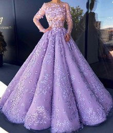 zuhair murad flower dress Canada - Gorgeous Zuhair Murad Dresses Evening Wear Sheer Neck Long Sleeves Red Carpet Gown A Line Formal Dress With 3D Aplpliques