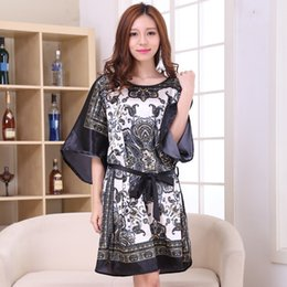 207a5a2742 Wholesale- Hot Sale Black Women Faux Silk Robe Gown Summer Vintage Print  Nightgown Bathrobe Loose Lounge Sleepwear Dress Mujer Pajamas