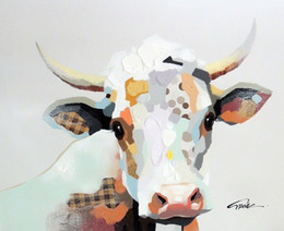 $enCountryForm.capitalKeyWord NZ - Framed Cow Portrait Pop Art,Pure Hand Painted Cartoon Animal Art oil painting On Thick Canvas,Multi sizes Available Free Shipping J016