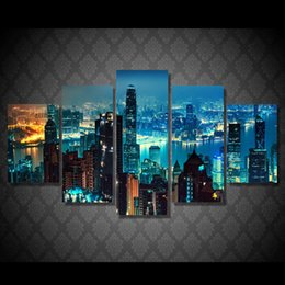 $enCountryForm.capitalKeyWord Canada - 5 Pcs Set Framed HD Printed New York Cityscape Night Picture Art Print Poster Canvas Modern Photo Design Oil Painting