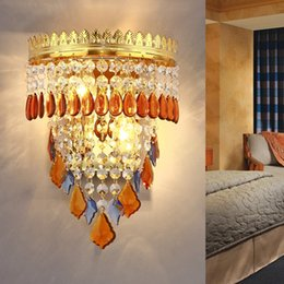 luxury mirror wall sconce front lamp crystal lamp wall lights bedroom stainless steel hotel project pull chain switch lamps