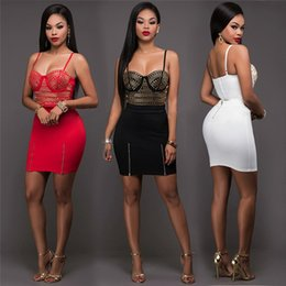 Bretelles En Strass En Robe Rouge Pas Cher-Black White Red Rhinestones Deux pièces Mini Dress 2017 Sexy Straps Backless Zipper Bodycon Bandage Femme Robe d'été