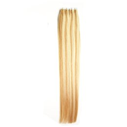 blonde remy tape hair extensions 2019 - Wholesale- 8A 100% Real Hair 27 613 Double Sided tape hair extensions 100g 40pcs Honey Blonde Adhesive PU Skin Weft Tape