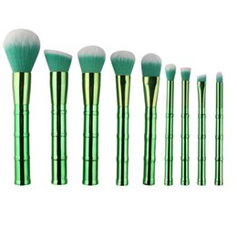 Discount makeup brush set face Fashion Imitation bamboo Makeup Brushes Set Foundation Powder Face Eye Blush Cosmetic Make Up Tools 9pcs lot F20171062
