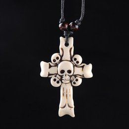 $enCountryForm.capitalKeyWord Australia - Hot ! New European and American Fashion Imitation Bovine Bone Skull Cross Pendant Wax Cord Necklace free shipping