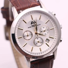 Strap vk online shopping - 7type new brand AEHIBO watches men silver case brown leather strap watch quartz VK movement super chronograph sport watch men s watches