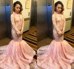 Barato Vestidos De Renda Rosa Pálido-Pale Pink High Neck Manga comprida Prom Dresses Mermaid 2017 Lace Organza Custom Made Black Girls Party Dresses Vestidos de noite tamanho grande