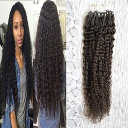 Wholesale Natural black Micro Link Hair Extensions Human unprocessed peruvian virgin hair micro loop human hair extensions kinky 100g 1g s 100s