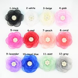 Hair Color Edges Canada - free shipping 30pcs lot 12 Color 9cm Burned Edges Gauze Rose Flowers With Pearl Rhinestone Garment Hair Accessories Wholesale Supply H0248