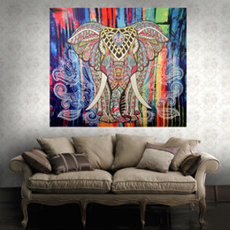 Custom towels online shopping - Folk Custom Tapestry Elephant Background Tapestry Mandala Yoga Home Cloth Beach Towel Living Room Decoration Wall decoration ECO Friendly