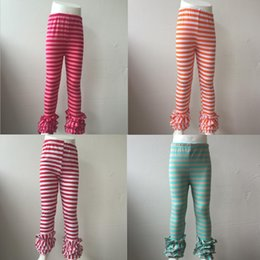 Les Enfants En Gros Des Jambières À Volants Pas Cher-Vente en gros Triple Layers Ruffle Baby Kids Four Style Stripe Pants Cheap Icing Baby Icing Leggings Pants