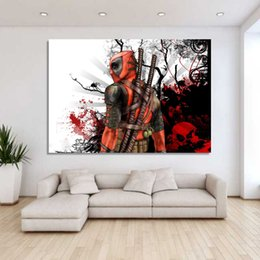 $enCountryForm.capitalKeyWord UK - 1 Pieces Deadpool Mask Sabers Wall Art Canvas Pictures For Living Room Bedroom Home Decor Printed Canvas Paintings