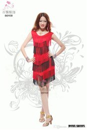 Barato Show De Dança Latina-Moda New Adult Latin Dance Costume Inter-color Flow Slim Latin Show Saia Elastic Fringed Party Dress A0474