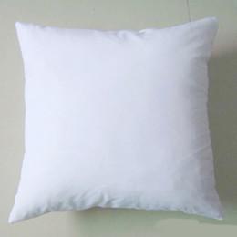 (50pcs / lot) plaine blanc bricolage vide Sublimation taie d'oreiller poly taie d'oreiller 150gsm tissu 40 cm carré taie d'oreiller blanc pour bricolage impression / peinture