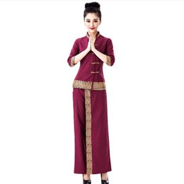 Chinese  Fashion Womens Clothing sets Ethnic Clothing Thailand India and Nepal (Top+Pant) purple sets SPA work suit female food Service uniform manufacturers