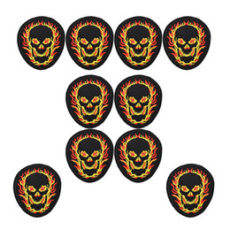 Fire clothing online shopping - 10pcs Punk fire skull badges cool patches for clothing iron embroidered patch applique iron on patches sewing accessories DIY