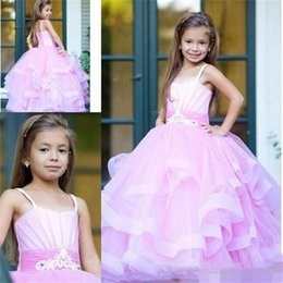 Barato Vestido De Bola De Renda Roxa-Light Purple Ball Gown Girls Pageant Vestidos Crianças Spaghetti Straps Puffy Kids Aniversário Dress With Sash Voltar Lace Up Flower Girl Dress