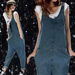 Barato Macacão Jeans-Atacado- New Plus Size Womens Jumpsuit Denim Overalls Casual Skinny Girls Pants loose long Jeans