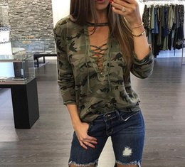 T-shirt Femme Longue Et Sexy Pas Cher-Fashion Spring t shirt femme sexy casual bandage camouflage manches longues T-shirt blusa tshirt femme tops tee ladies lace up