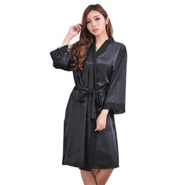 Wholesale Want Sexy Sexy Satin Night Robe Lace Bathrobe Perfect Wedding Bride Bridesmaid Robes Dressing Gown For Women Size S XXXL