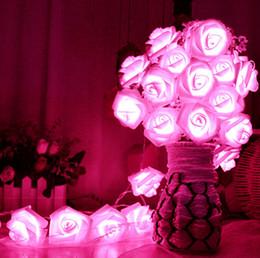 Venta al por mayor de Venta al por mayor- Romántico 20 luces LED Flor de rosa Cadena Luces de hadas Hogar Dormitorio Decoración del banquete de boda Decoración de plantas artificiales