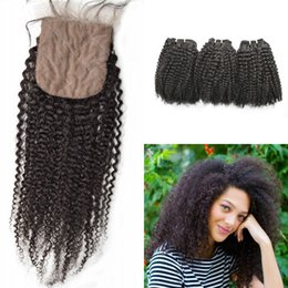 curly weave silk closure Australia - 100% human hair 3bundles with closure free part virgin malaysian kinky curly silk base closure bleached knots G-EASY