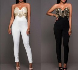 Barato Jumpsuits De Glitter-Atacado- Mulheres Glitter Jumpsuit Rompers calças compridas Feminino Playsuit Gold Tubo Backless Sexy Branco Vintage Preto Bodysuit
