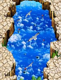 Bird Wallpapers For Living Room Canada - custom 3d photo floor murals Sky bird 3d floor for living room bedroom 3d pvc flooring waterproof