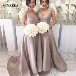 taffeta bridesmaid wedding dresses champagne NZ - Elegant V-neck Long Taffeta Bridesmaid Dresses Sexy Back Wedding Party Gowns Sweep Train Women Formal Dress