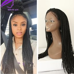 $enCountryForm.capitalKeyWord Canada - New Braided Lace Front Wigs Heat Resistant Black Long Synthetic Wig with Natural Baby Hair Box Braided Wigs for black women