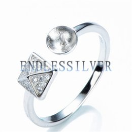 pyramid silver NZ - Pyramid Ring Micro Pave Zircon Pearl Settings 925 Sterling Silver DIY Jewellery Findings for Pearl Party