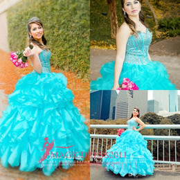 $enCountryForm.capitalKeyWord Canada - 2018 Blue Quinceanera Dresses Floral Beaded Sweetheart Princess Ball Gown Sweet 16 Organza Pleated Princess Prom Dress Evening Gowns Cheap