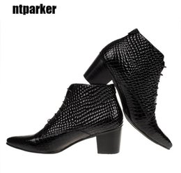 Wholesale 6 CM High Heels Men boots British style Genuine Leather Pointed Toe Ankle boots Male elevator shoes Party and Wedding big size