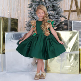 Barato Verde Escuro Para Miúdos-New Fashion Dark Green Kid's Dressup Pageant Com Sequins De Ouro Custom Made Knee Comprimento Fist Comunhão Vestido