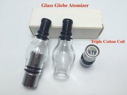 Discount pyrex globe vape pen - New Glass globe atomizer Pyrex Wax dry herb Tank vaporizer herbal dual ceramic Quartz Dome coils glassomizer vape pen va