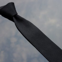 UniqUe ties online shopping - Unique Knitted Neckwear Striped Polyester Narrow Ties Slim Neck Tie Men s Black Striped Gravata Hombre Necktie