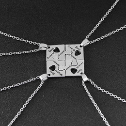 4Pcs BFF Charm Jigsaw Puzzle Pendant Necklaces Leterring Best Friends Forever Friendship Happy Birthday Gift For Women Men